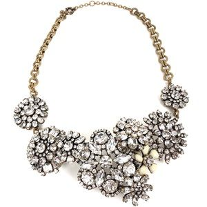 J. Crew Clear Stone Floral Gold Statement Necklace